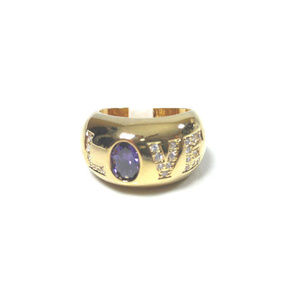 Fashion Jewelry Love Ring Large Amethyst CZ Pave